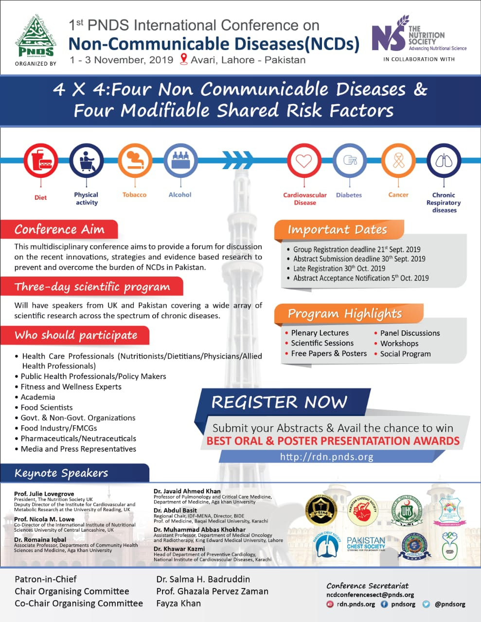 Second Announcement Ist PNDS Conference on NCDs 2019 Lahore Pakistan